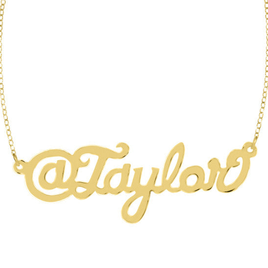 Twitter Handle Nameplate Necklace by Purple Mermaid Designs Apparel & Accessories > Jewelry > Necklaces - 1