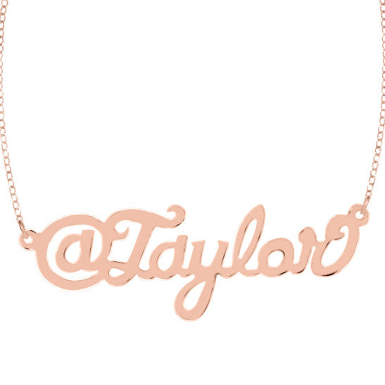 Twitter Handle Nameplate Necklace by Purple Mermaid Designs Apparel & Accessories > Jewelry > Necklaces - 2
