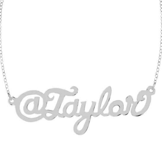 Twitter Handle Nameplate Necklace by Purple Mermaid Designs Apparel & Accessories > Jewelry > Necklaces - 3