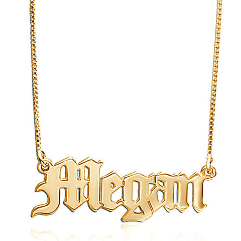 Old English Nameplate Necklace Apparel & Accessories > Jewelry > Necklaces - 1