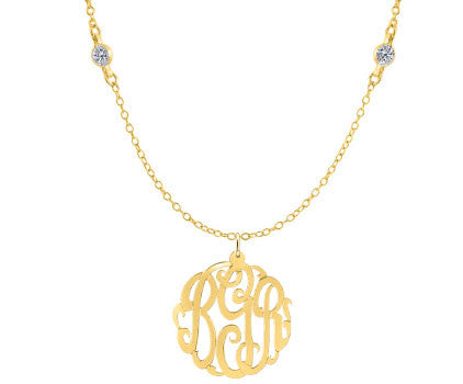 Gold Monogram CZ Necklace by Purple Mermaid Designs Apparel & Accessories > Jewelry > Necklaces - 1