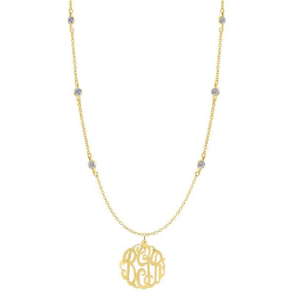 Gold Monogram CZ Necklace by Purple Mermaid Designs Apparel & Accessories > Jewelry > Necklaces - 2