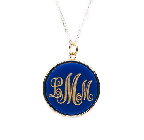 Acrylic Vineyard Round Monogram Necklace by Moon and Lola Apparel & Accessories > Jewelry > Necklaces - 1