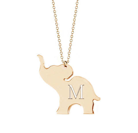 Mini Initial Good Luck Elephant Necklace