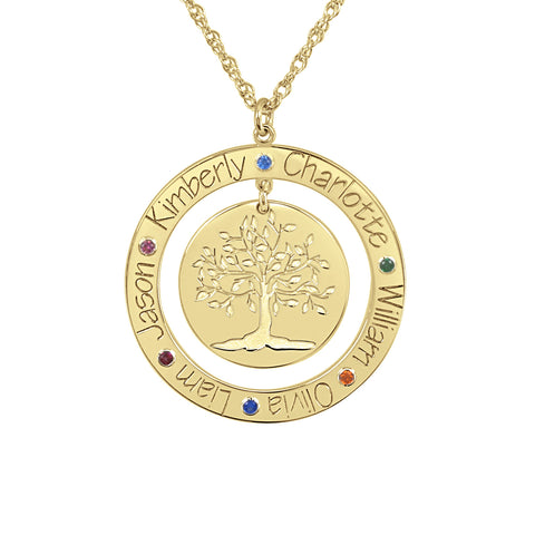Personalized Engraved Family Tree Necklace with Birthstones
