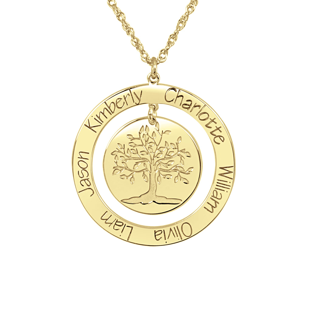 Personalized Engraved Family Tree Necklace
