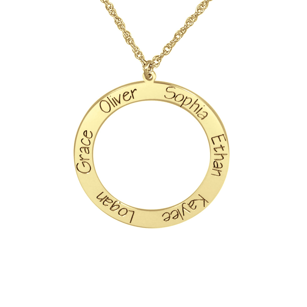Personalized Open Circle Engraved Family Necklace