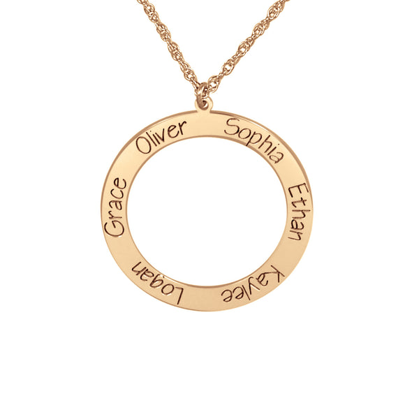 Personalized Open Circle Engraved Family Necklace 2