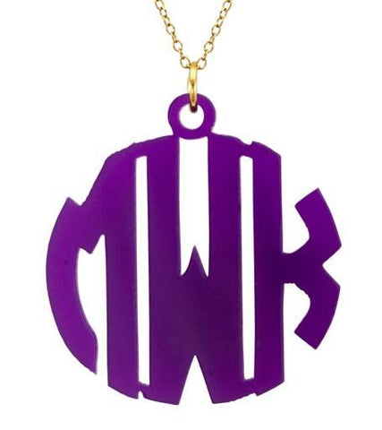 Block Acrylic Monogram Necklace Apparel & Accessories > Jewelry > Necklaces - 1
