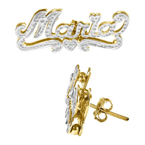 Double Plated Name Earrings