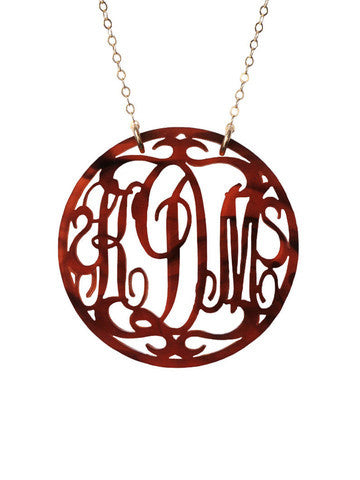 Acrylic Rimmed Script Monogram Necklace by Moon and Lola Apparel & Accessories > Jewelry > Necklaces - 1