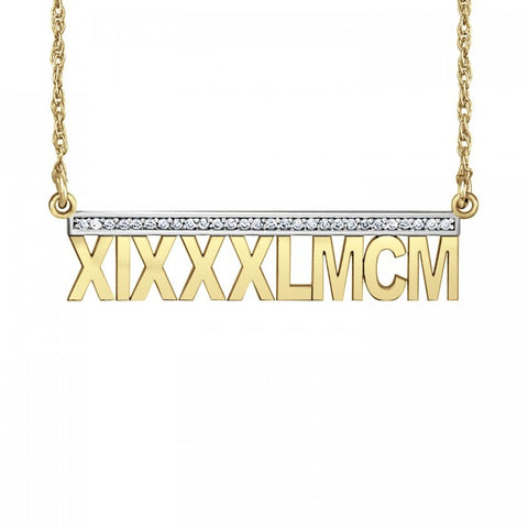 Roman Numeral Necklace - Diamond Accents