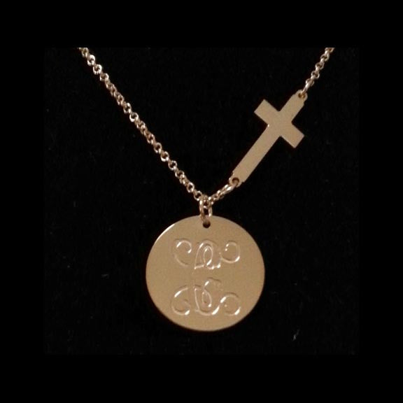 Gold Engraved Disc and Side Cross Necklace by Purple Mermaid Designs Apparel & Accessories > Jewelry > Necklaces - 2