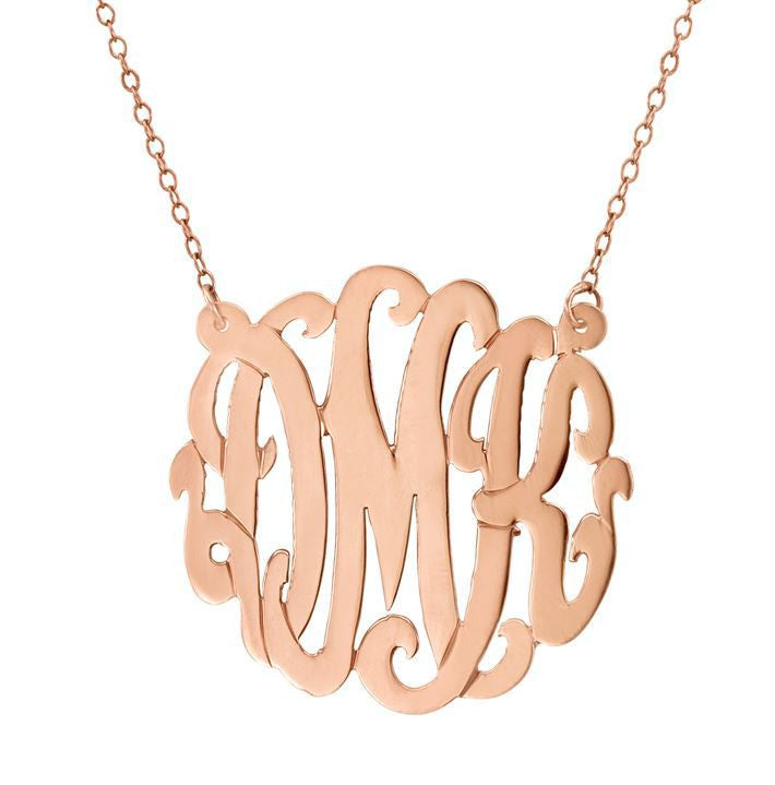 Rose Gold Cutout Monogram Necklace ~ Split Chain Apparel & Accessories > Jewelry > Necklaces - 1