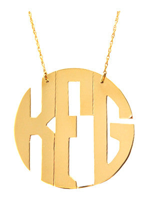 Moon and Lola Gold Filled Cutout Round Monogram Necklace Apparel & Accessories > Jewelry > Necklaces - 1
