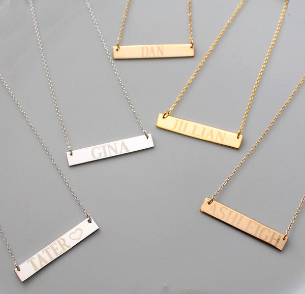 Gold Engraved Bar Necklace ~ 1 1/2 Inch by Purple Mermaid Designs Apparel & Accessories > Jewelry > Necklaces - 5