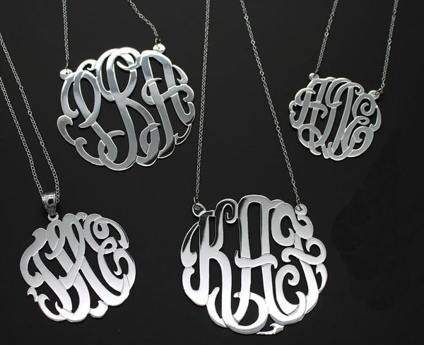 Sterling Silver Monogram Split Chain Necklace-Purple Mermaid Designs Apparel & Accessories > Jewelry > Necklaces - 8