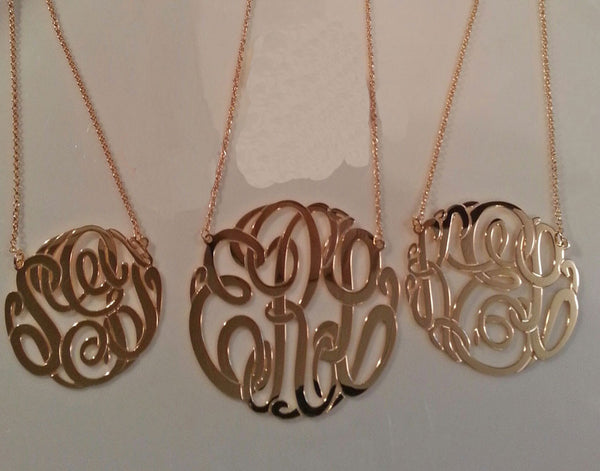 Big Slim Sterling Silver Monogram Necklace by Purple Mermaid Designs Apparel & Accessories > Jewelry > Necklaces - 3