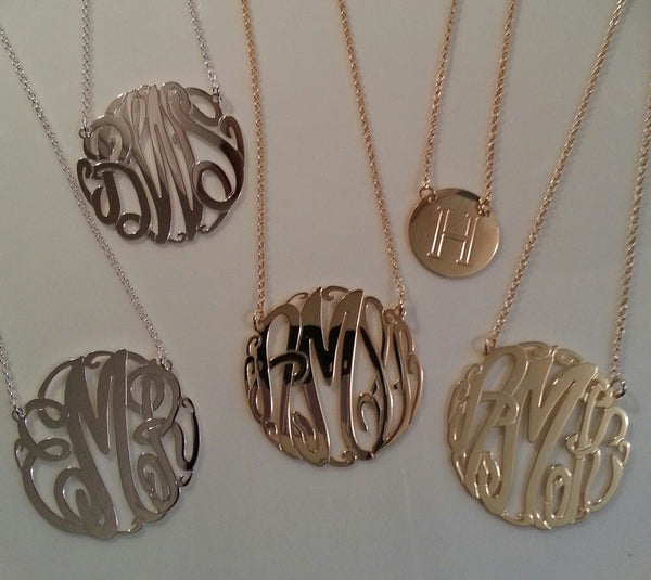 Big Slim Gold Monogram Necklace by Purple Mermaid Designs Apparel & Accessories > Jewelry > Necklaces - 7