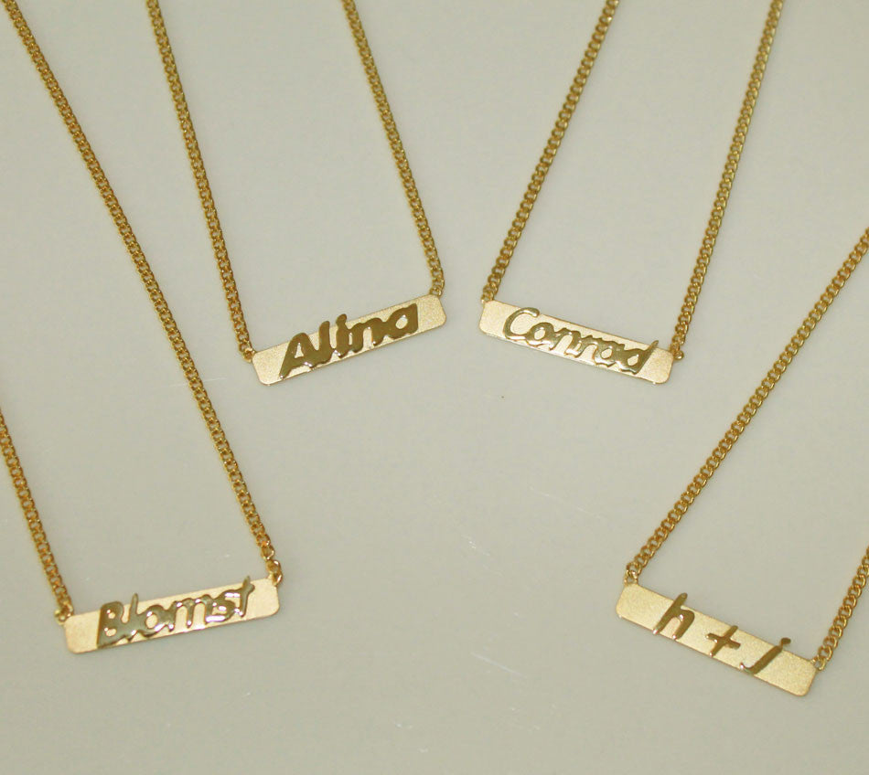 raised letter name bar necklace by purple mermaid designs  u2013 initial obsession
