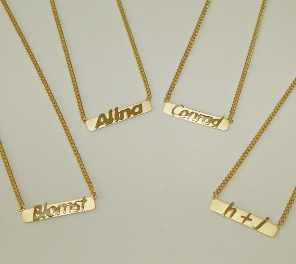 Raised Letter Name Bar Necklace by Purple Mermaid Designs Apparel & Accessories > Jewelry > Necklaces - 5