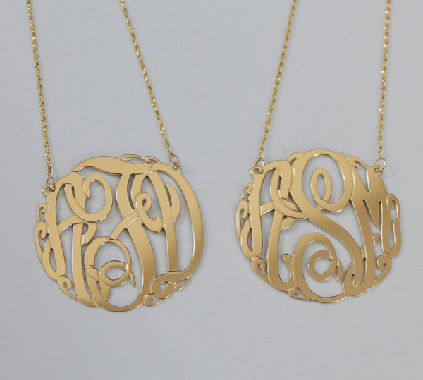 Big Slim Gold Monogram Necklace by Purple Mermaid Designs Apparel & Accessories > Jewelry > Necklaces - 3
