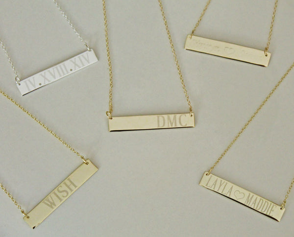 Gold Engraved Bar Necklace ~ 1 1/2 Inch by Purple Mermaid Designs Apparel & Accessories > Jewelry > Necklaces - 7