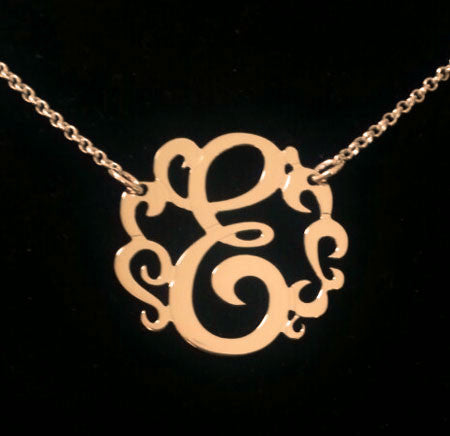 Swirly Initial Necklace by Purple Mermaid Designs Apparel & Accessories > Jewelry > Necklaces - 1