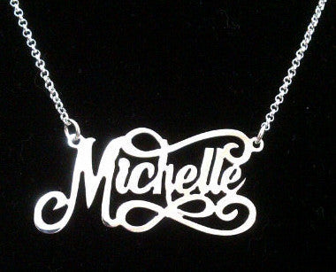 Sterling Silver Scrolly Name Necklace by Purple Mermaid Designs Apparel & Accessories > Jewelry > Necklaces - 1