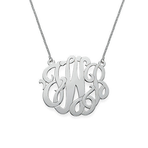 Scroll Monogram Necklace - Sterling Silver Apparel & Accessories > Jewelry > Necklaces - 3