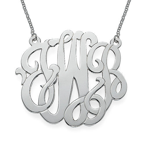 Scroll Monogram Necklace - Sterling Silver Apparel & Accessories > Jewelry > Necklaces - 1