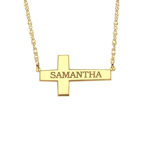 Sideways Cross Name Necklace Apparel & Accessories > Jewelry > Necklaces - 1