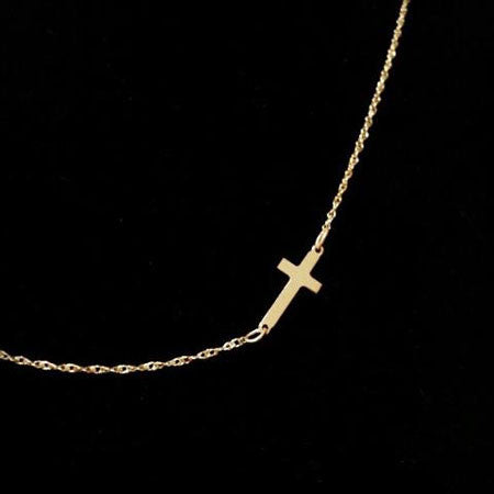 Gold Sideways Cross Necklace ~ 5/8 Inch by Purple Mermaid Designs Apparel & Accessories > Jewelry > Necklaces - 1