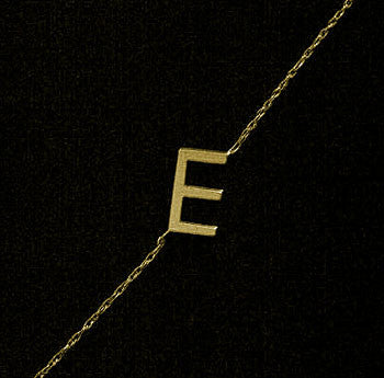 Gold Sideways Initial Necklace~Rope Chain by Purple Mermaid Designs Apparel & Accessories > Jewelry > Necklaces - 4