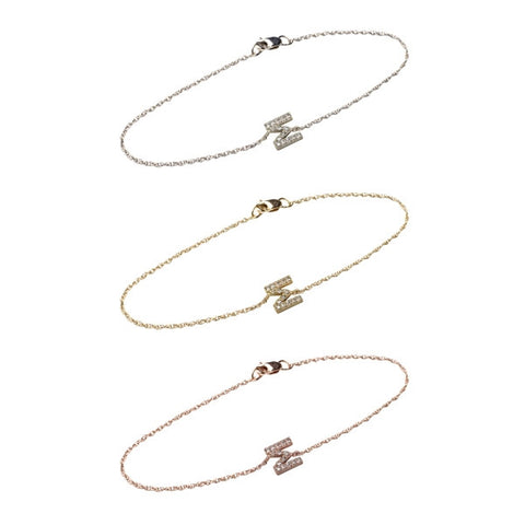 White Diamond Gold Sideways Letter Bracelet Apparel & Accessories > Jewelry > Bracelets
