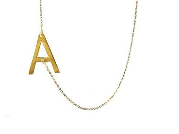 Large Sideways Initial Necklace - Lisa Stewart Apparel & Accessories > Jewelry > Necklaces - 1