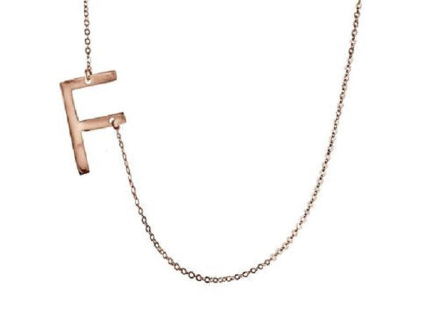 Large Sideways Initial Necklace - Lisa Stewart Apparel & Accessories > Jewelry > Necklaces - 4