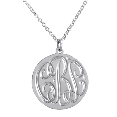 Sterling Silver Engraved Disc Necklace Apparel & Accessories > Jewelry > Necklaces