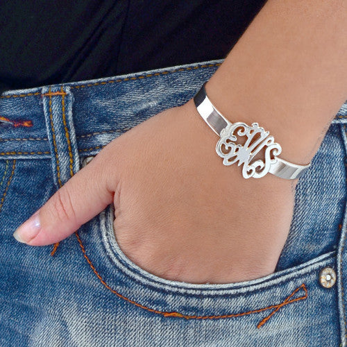 Sterling Silver Monogram Cuff Bracelet Apparel & Accessories > Jewelry > Bracelets - 1