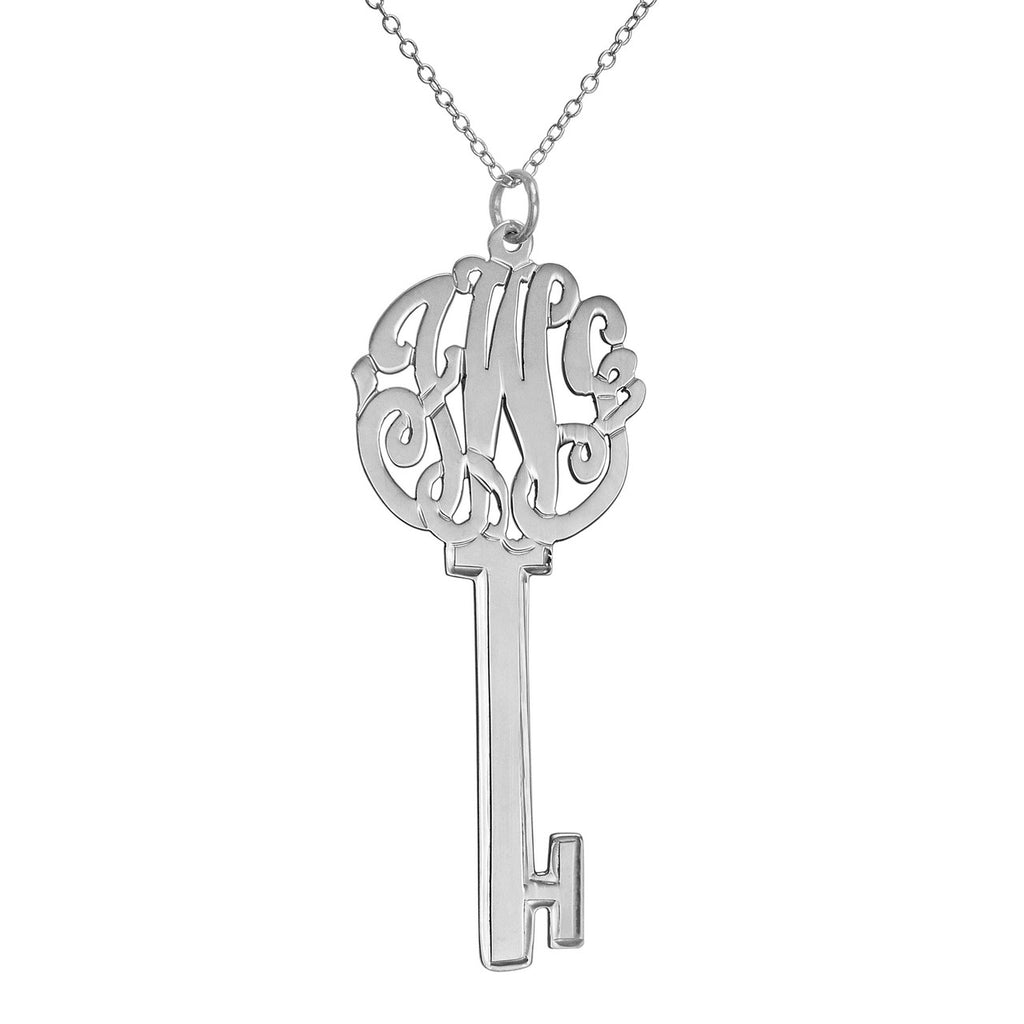 Sterling Silver Cutout Monogram Key Necklace Apparel & Accessories > Jewelry > Necklaces