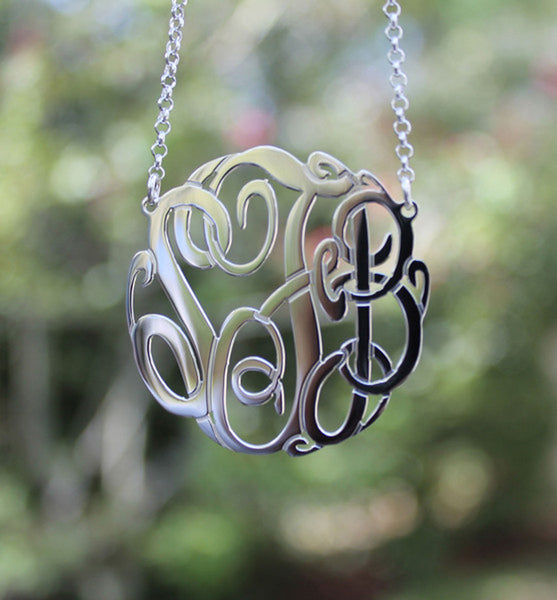Big Slim Sterling Silver Monogram Necklace by Purple Mermaid Designs Apparel & Accessories > Jewelry > Necklaces - 1