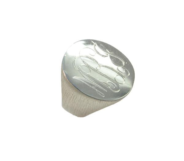 Moon and Lola Sterling Silver Engraved Signet Ring Apparel & Accessories > Jewelry > Rings
