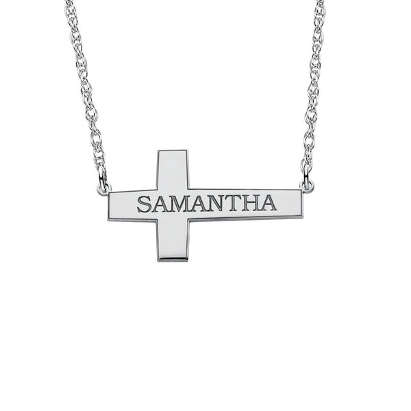 Sideways Cross Name Necklace Apparel & Accessories > Jewelry > Necklaces - 2
