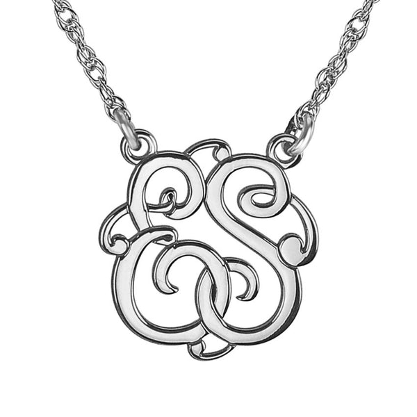 Classic Script Two Initial Monogram Necklace Apparel & Accessories > Jewelry > Necklaces - 2