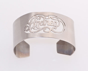 Caja Cut Out Name Silver Cuff Bracelet Apparel & Accessories > Jewelry > Bracelets