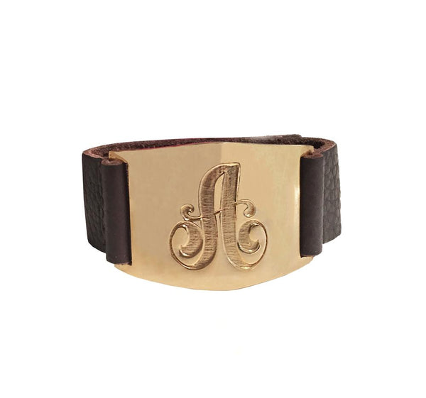 Lisa Stewart Leather Initial Cuff Bracelet 4