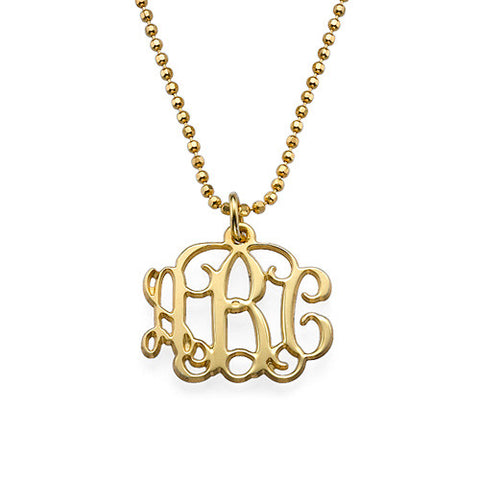 18K Gold Plated Small Monogram Necklace Apparel & Accessories > Jewelry > Necklaces - 1