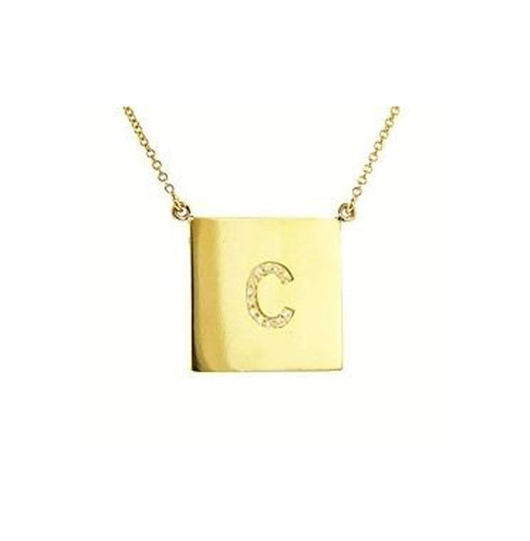 Square Gold CZ Initial Necklace-Purple Mermaid Designs Apparel & Accessories > Jewelry > Necklaces - 1