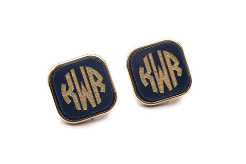 Acrylic Vineyard Square Monogram Post Earrings by Moon and Lola Apparel & Accessories > Jewelry > Earrings - 1