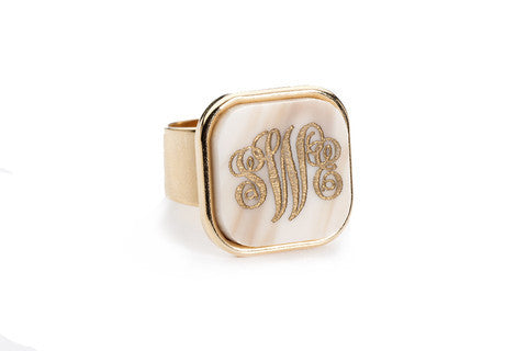 Acrylic Vineyard Square Monogram Ring by Moon and Lola Apparel & Accessories > Jewelry > Rings - 1